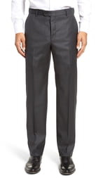 Hickey Freeman Classic B Fit Flat Front Solid Wool Dress Pants
