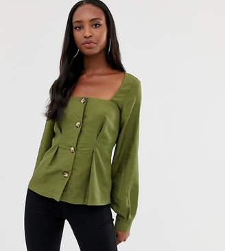 Asos Tall DESIGN Tall square neck button through long sleeve top with pleat detail