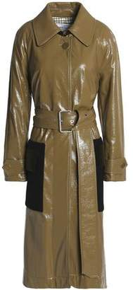 Sonia Rykiel Velvet-Paneled Coated Cotton-Blend Trench Coat