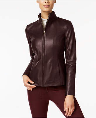 Cole Haan Petite Leather Moto Jacket