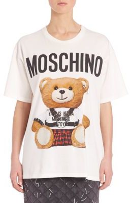Moschino Bear Logo Cotton Tee $225 thestylecure.com
