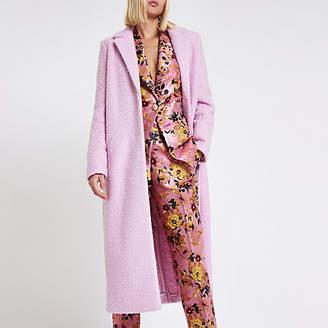 River Island Pink textured longline coat