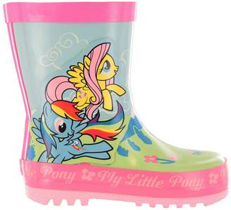My Little Pony Girls MLP Green & Pink Floral Wellies Wellingtons UK Size 8
