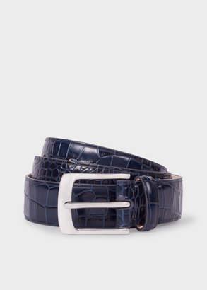 Paul Smith Men's Blue Mock-Croc Leather Belt
