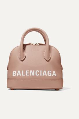 Balenciaga Ville Xxs Aj Printed Textured-leather Tote - Beige