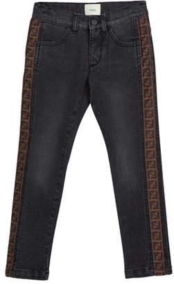 Fendi Boy's Denim Jeans w/ Logo Sides, Size 4-14