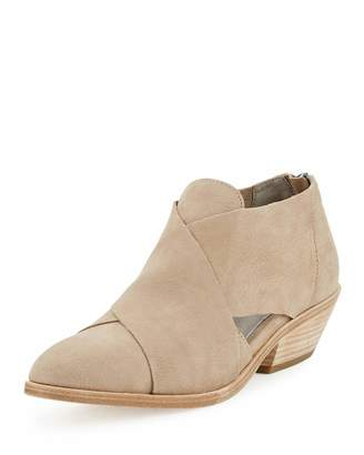 Eileen Fisher Cluster Leather Crisscross Bootie, Earth $189 thestylecure.com