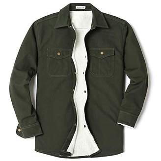 Men's Long Sleeve Thick Corduroy and Canvas Two Pocket Fleece-Lined Shirt Jacket Army Green(Canvas)