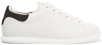 Alexander McQueen - Leather And Suede Sneakers - White $460 thestylecure.com