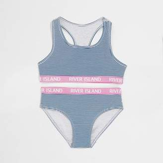 River Island Girls navy stripe crop top and knickers set