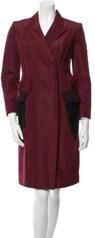 prada Prada Silk-Blend Knee-Length Coat