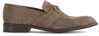 Reiss SIMON SUEDE HORSEBIT BUCKLE LOAFERS Taupe