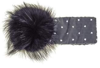 Black Grey Fur Pom Pom Headband