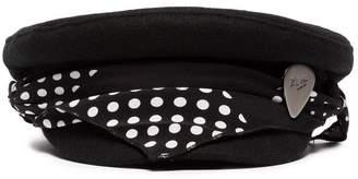 Rockins black and white polka dot scarf wool hat