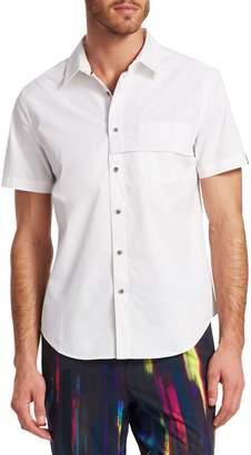Madison Supply Mixed-Media Mesh Shirt