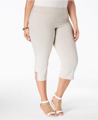 JM Collection Plus Size Lattice-Hem Capri Pants
