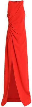 Halston Ruched Crepe Gown