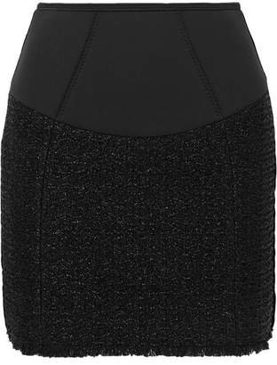 Alexander Wang Velvet-trimmed Tweed And Scuba Mini Skirt - Black