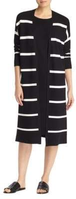 Lafayette 148 New York Striped Knit Cardigan