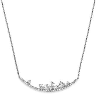 KC Designs 14K White Gold Diamond Mosaic Curved Bar Necklace, 16