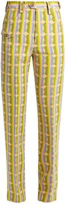 Miu Miu Circle Striped Print Wool Blend Trousers - Womens - Green Multi
