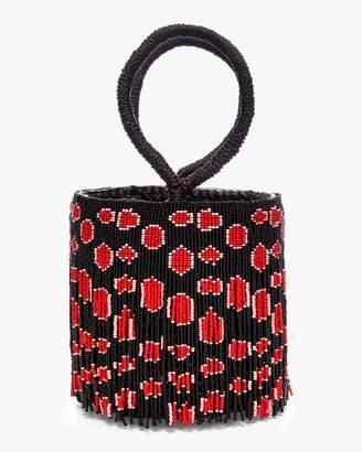 Sensi Studio Beaded Leopard Bucket Bag
