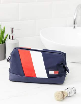 Tommy Hilfiger chevron frame toiletry bag in dark blue