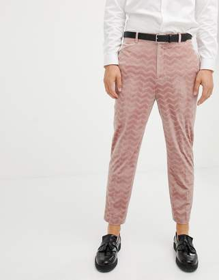 Asos DESIGN tapered smart pants in pink velvet cord