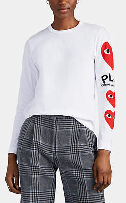 Comme des Garcons Women's Heart-Logo Cotton Long-Sleeve T-Shirt - White
