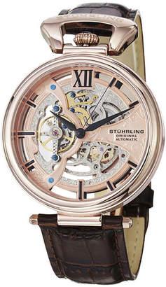 Stuhrling Original Sthrling Original Mens Rose-Tone Dial Skeleton Automatic Watch