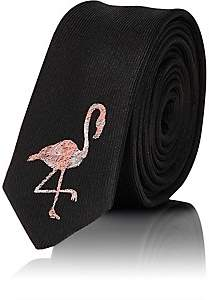 Saint Laurent Men's Flamingo-Embroidered Silk Necktie - Black