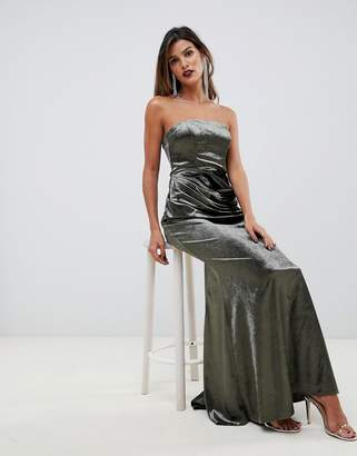 Asos Design DESIGN bandeau maxi dress in drape velvet with fishtail hem