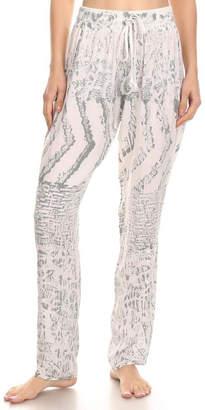 T Party Fashion White Batik Straight-Leg-Pant