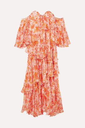 Caroline Constas Ruffled Tiered Printed Silk-chiffon Maxi Dress - Orange