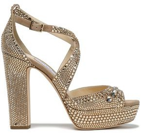 Jimmy Choo Crystal-embellished Suede Platform Sandals