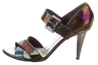 Giuseppe Zanotti Oil Slick Round-Toe Sandals