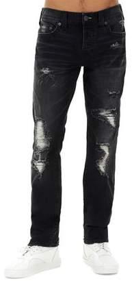 True Religion Men's Rocco Distressed Skinny Jeans, Black