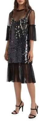 French Connection Ever Sparkle Embellished Mesh Dress