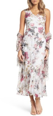 Women's Komarov Print Chiffon Tiered Maxi Dress & Shawl $418 thestylecure.com