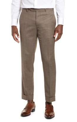 Zanella Curtis Flat Front Sharkskin Wool Trousers