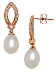 Lord & Taylor 7MM White Pearl, Diamonds and 14K Rose Gold Drop Earrings
