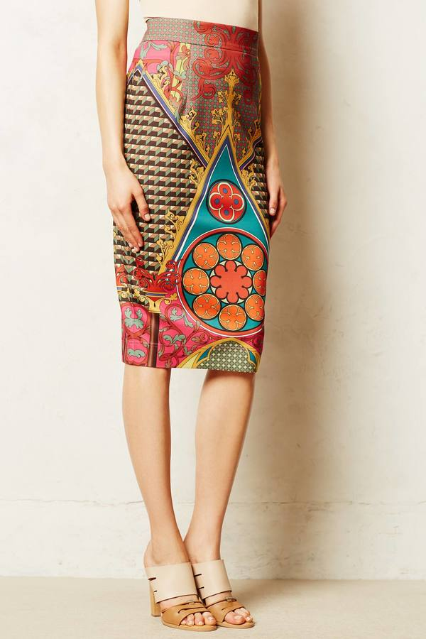 Anthropologie Pankaj & Nidhi Rambutan Pencil Skirt