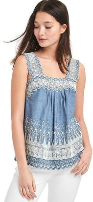 Embroidered denim tank $59.95 thestylecure.com