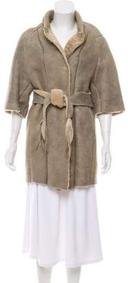 Hache Shearling Belted Coat