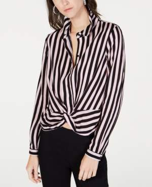INC International Concepts I.n.c. Striped Twist-Front Button-Up Shirt, Created for Macy's