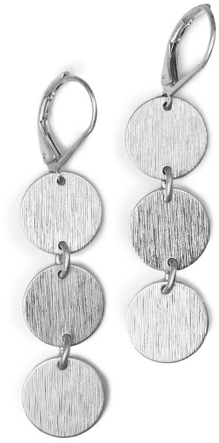 Jones New York Earrings, Silver-Tone Triple Circle Drops