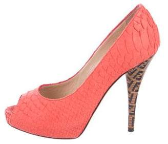 Fendi Embossed Peep-Toe Pumps