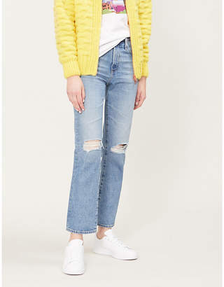 AG Jeans Isabella ripped high-rise straight jeans