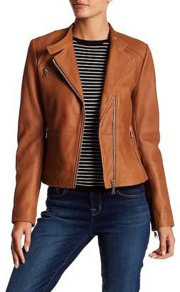 Andrew Marc Blake Leather Moto Jacket $550 thestylecure.com