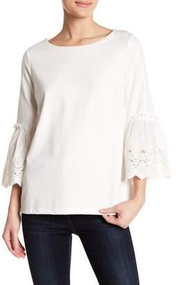 Gibson Eyelet Trim 3/4 Length Sleeve Shirt